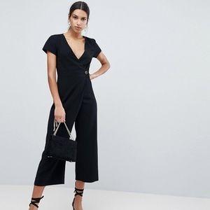 ASOS Wrap Jumpsuit with Horn Button & Culotte Leg